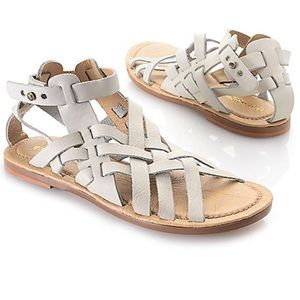 Musse & Cloud Crisha Gray Leather Woven Sandals 8